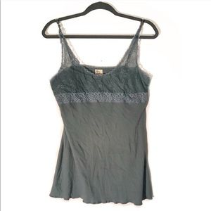 Free People Dusty Blue Rubbed Tank Flower Straps